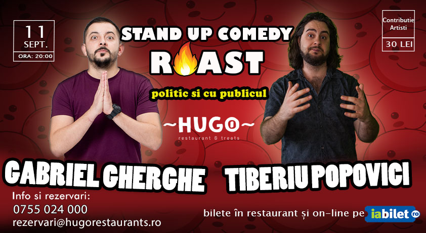 Stand-up Comedy @ Hugo The Office cu Gabriel Gherghe și Tiberiu Popovici