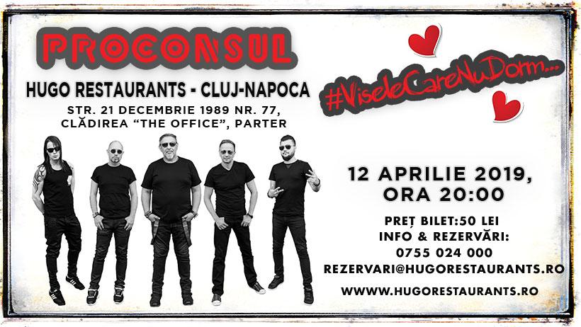 "Proconsul ""îți va lua inima"" pe 12 aprilie la Hugo Restaurants"
