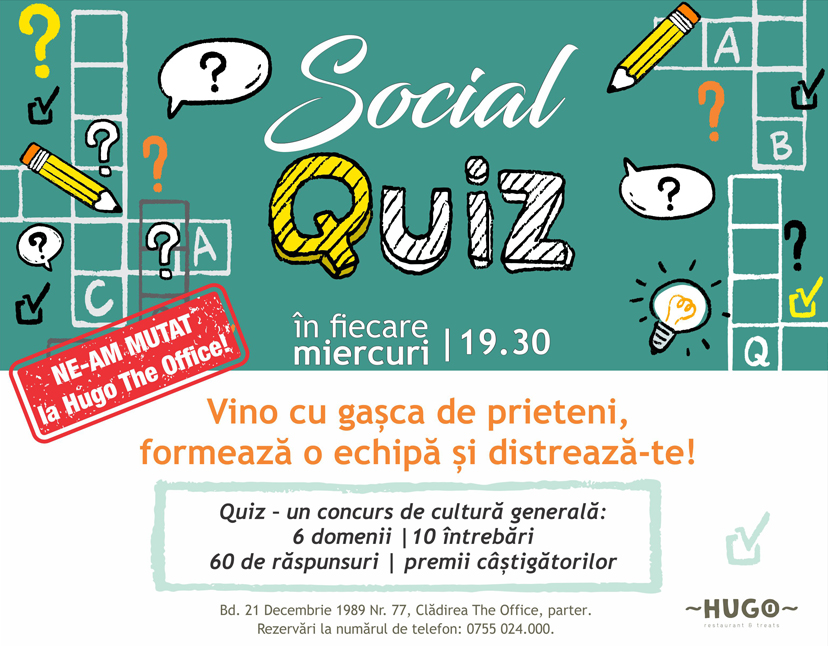 Quiz Night, în fiecare miercuri, la Hugo The Office!
